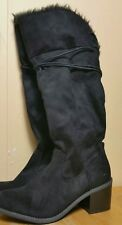 Women's winter New Black Faux Fur Block heel boots sz 8(#c10