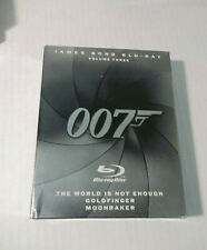 007 James Bond Three Blu Ray Set  Goldfinger-Moonraker-World Is Not Enough NEW