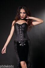 "Black Satin Overbust Corset size 24"" Pentagramme Clothing burlesque goth corset"
