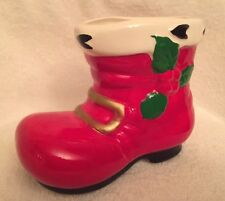 Santa's Boot,Holly & Berry,Planter,Candy Cane Holder,Vintage,Christmas, Ceramic
