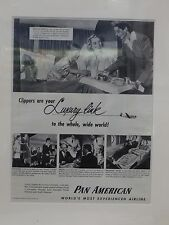 Original 1952 Vintage Advert mounted ready to framed Pan American Airlines