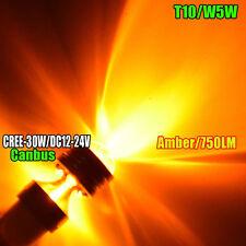 1X T10 30W CREE Q5 LED W5W 194 360° AMBER INTERIOR DOME/MAP PROJECTOR LIGHT BULB