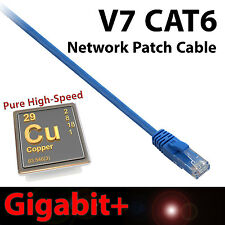 V7 25ft CAT6 Network Cable Ethernet Patch Gigabit+ Snagless Design RJ45 Blue