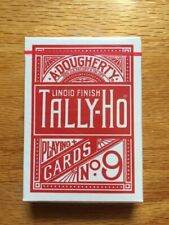 2 Decks Tally HO No 9 Fan Back Standard Playing Cards Red & Blue