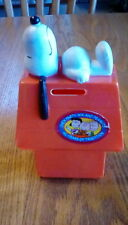 Vintage Chex Party Mix and Peanuts Snoopy Doghouse Coin Piggy Bank Red 1966
