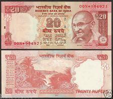 ★ Rs.20/- Raghuram Rajan ~  Star Note 'E' Inset ~ Prefix 00N ~ 2014 UNC ★ bb85