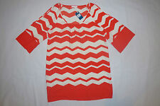 GLAM Chevron Womens Dress Red / Orange Off White Sz Large $65 Zig Zag NEW