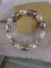 10-11mm weiß & grau barock Perlen-Stretch-Armband