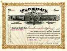 1921 Portland Gold Mining Stock Certificate signed by Peck