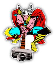 Thor Kick Cartoon Car Bumper Sticker Decal 4'' x 5''
