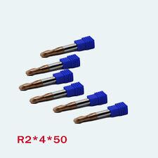 6Pcs Carbide End Mill Set For Metal Ball Nose Radius 2mm Length 50mm CNC Bit