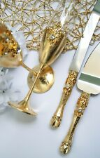 Gold champagne flutes Wedding toasting glasses and cake server set