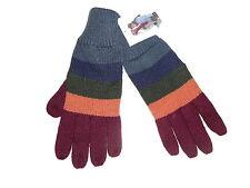 NEU Strick Handschuhe Gr. S / M grau-khaki-rot gestreift !!
