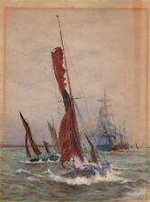 SAILING BOATS SHIPS & STEAMBOATS AT SEA Watercolour Painting JEH ROBINSON c1900