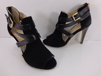 Women's Isola Blinn Peep Toed Strappy Heels Black Size 9.5 M