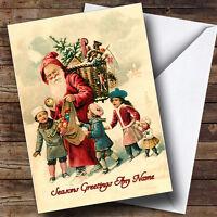 Santa & Children Vintage Traditional Personalised Christmas Card