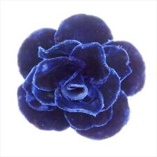 Velor Woman Authentic Used T8541 Chanel corsage brooch Camellia Navy