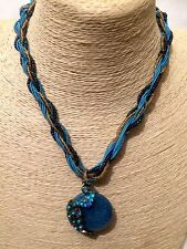 Womens Statement Long AQUA Blue Chain Beaded Necklace + Crystal Peacock Pendant