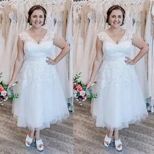 Wedding Dress Plus Size Sleeveless A-Line Lace Appliques V-Neck Tea Length Gown