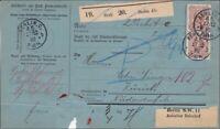 Paketkarte für 2 Pakete von Berlin nach Zürich 1888