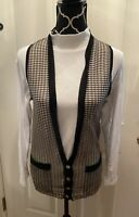 Antique 1920s-30s Vest Black Mesh Women's Small Pockets Mother of Pearl Button