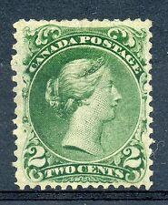 Weeda Canada 24 F/VF mint no gum 2c green Large Queen 1868 issue CV $1,000