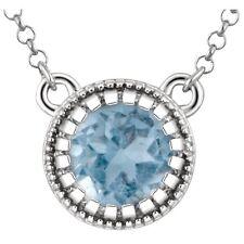 "14kt White Gold Swiss Blue Topaz 18"" Chain & Pendant Necklace"