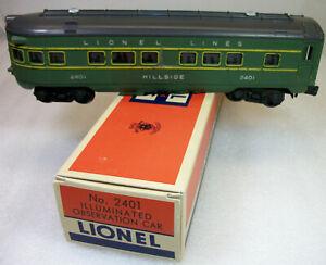 LIONEL POSTWAR 2401 ILLUMINATED PASSENGER CAR VERY GOOD+ REPRODUCTION BOX