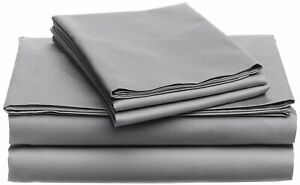 Luxury-USA Bedding All Item & Size Plain 100% Pima Cotton 1000 TC Light Grey
