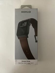 Nomad - Modern Leather Watch Strap for Apple Watch ® 42mm and 44mm - Brown w...