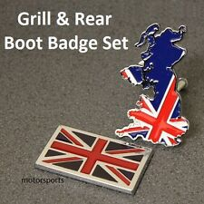 UK GB Flag Grill + Rear Boot Badge Set Emblem British Union Jack England Car UKS