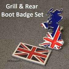 UK GB Flag Grill + Rear Boot Badge Set Emblem British Union Jack England Car UKS