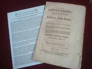 LAST CONFESSION of JOHN STERN & GEORGE BOROSKY 1682 - THOMAS THYNN LONDON