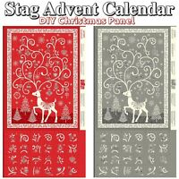 Makower Scandi 2019 Christmas Stag ~Advent Calendar~ Cotton Fabric 60cm Panel