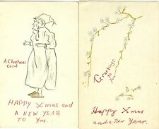 "Christmas, ..Just found...Rare pair of home made post cards,  ""To Aunt Minnie"""