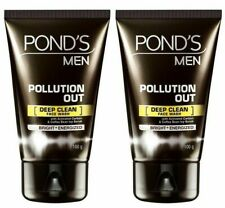 New 2x Ponds Men Pollution Out Face Wash 100gm Coffee bean scrub Charcoal mask
