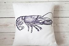 "Indigo coastal Lobster - 16"" cushion cover nautical shabby vintage chic"