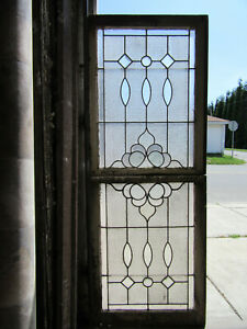 ~ ANTIQUE STAINED GLASS WINDOWS TOP BOTTOM BEVELS ~ ARCHITECTURAL SALVAGE