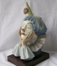 Large Lladro Authentic Vintage Clown Head Bust Sad Jester Figurine with Base