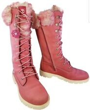 TIMBERLAND BOOTS 20999M WOMAN PINK LEATHER  WINTER SNOW SIZE 37/5
