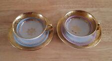 Vintage Bavaria Wolfram Wiesaw Set of 2 Demitasse Tea Cups & Saucers Decor