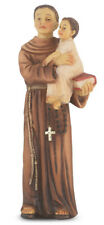 Saint Anthony With Baby Jesus Statue, Hand Painted, Gold Leaf Accents 4""
