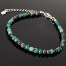 Men's Women Bracelet Rare Peru Chrysocolla 925 Sterling Silver Clasp Link 1251