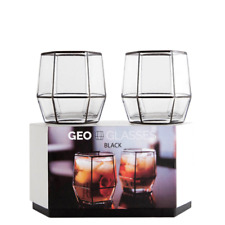 2x Geo Tumbler Whiskey Glasses - Black - Root 7
