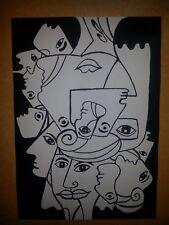 peinture et encre oeuvre originale visages