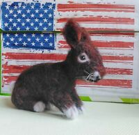 Needle felted wool brown rabbit mini sculpture one of a kind