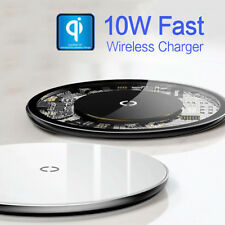 Thin Qi Fast Wireless Charger Tempered Glass Pad For iPhone XS XR 8 Samsung S9 8