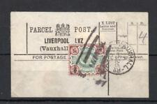 EDWARD VII 4d USED ON PARCEL POST LABEL (LIVERPOOL, VAUXHALL)