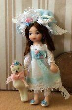 DOLLHOUSE MINIATURE Porcelain Dollhouse Doll Ethel Hicks 'Luella & Bear' NEW!!!!