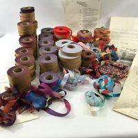 Vtg Bias Strip Yarn + Patterns 1980s Knit Crochet Jackets Vests Rugs Fiber Art